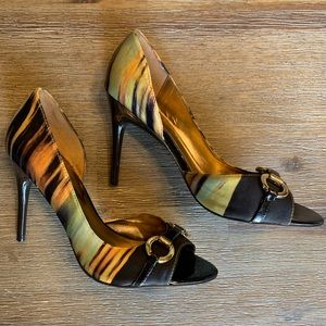 Carlos Santana Multi-colored Peep Toe Heels